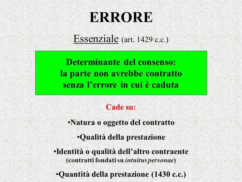 ERRORE Essenziale (art. 1429 c.c.) Determinante del consenso: