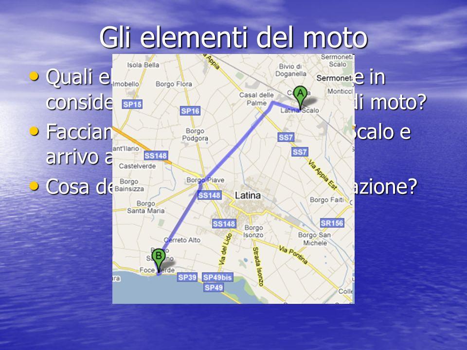 Gli elementi del moto Quali elementi dobbiamo prendere in considerazione quando parliamo di moto