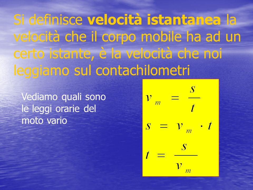 Si definisce velocità istantanea la velocità che il corpo mobile ha ad un certo istante, è la velocità che noi leggiamo sul contachilometri