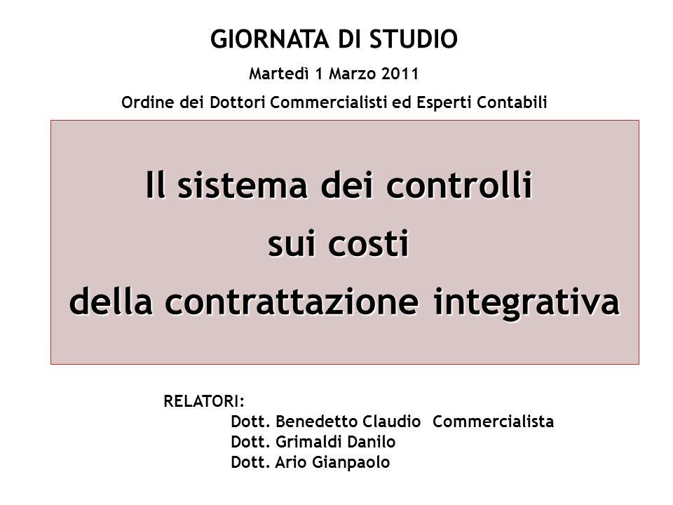 Il sistema dei controlli sui costi della contrattazione integrativa