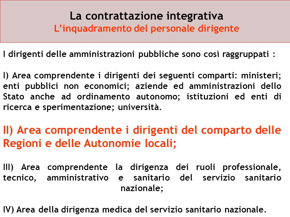 La contrattazione integrativa L'inquadramento del personale dirigente