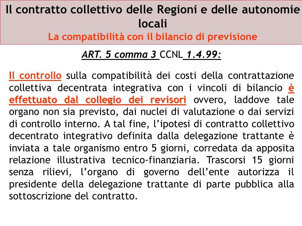 Il contratto collettivo delle Regioni e delle autonomie locali La compatibilità con il bilancio di previsione