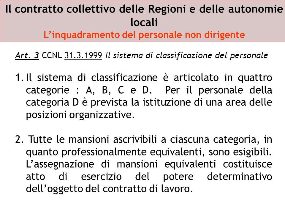 Il contratto collettivo delle Regioni e delle autonomie locali L'inquadramento del personale non dirigente