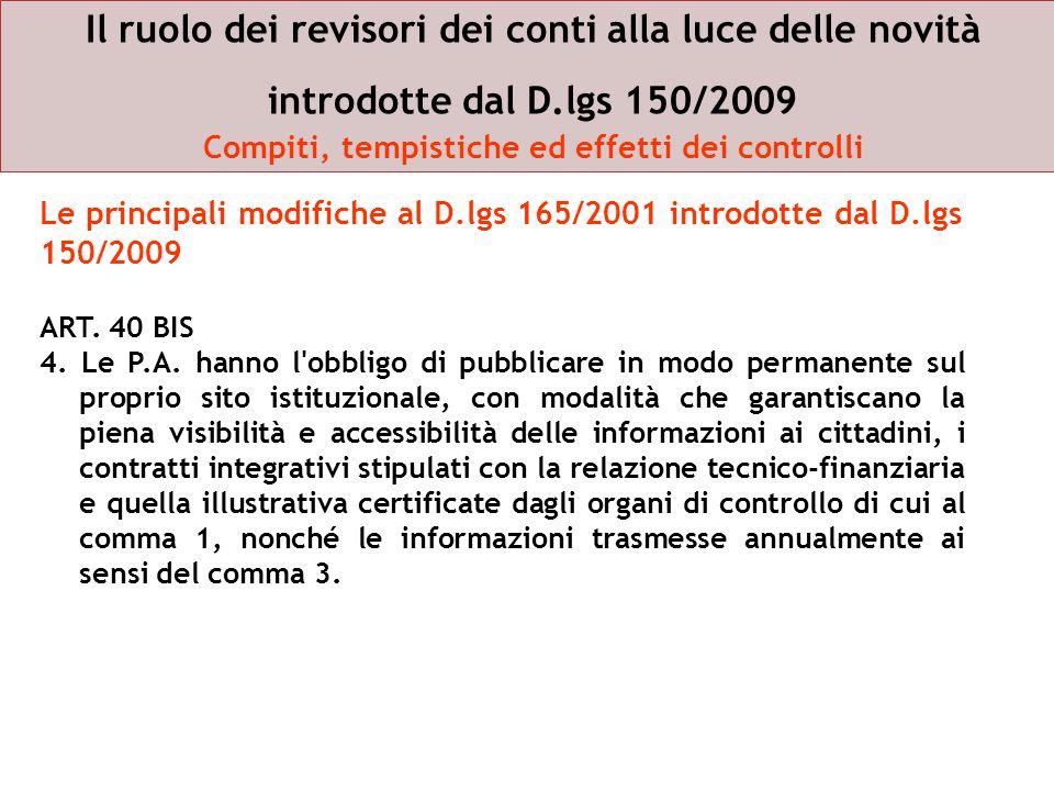 Il ruolo dei revisori dei conti alla luce delle novità introdotte dal D.lgs 150/2009 Compiti, tempistiche ed effetti dei controlli
