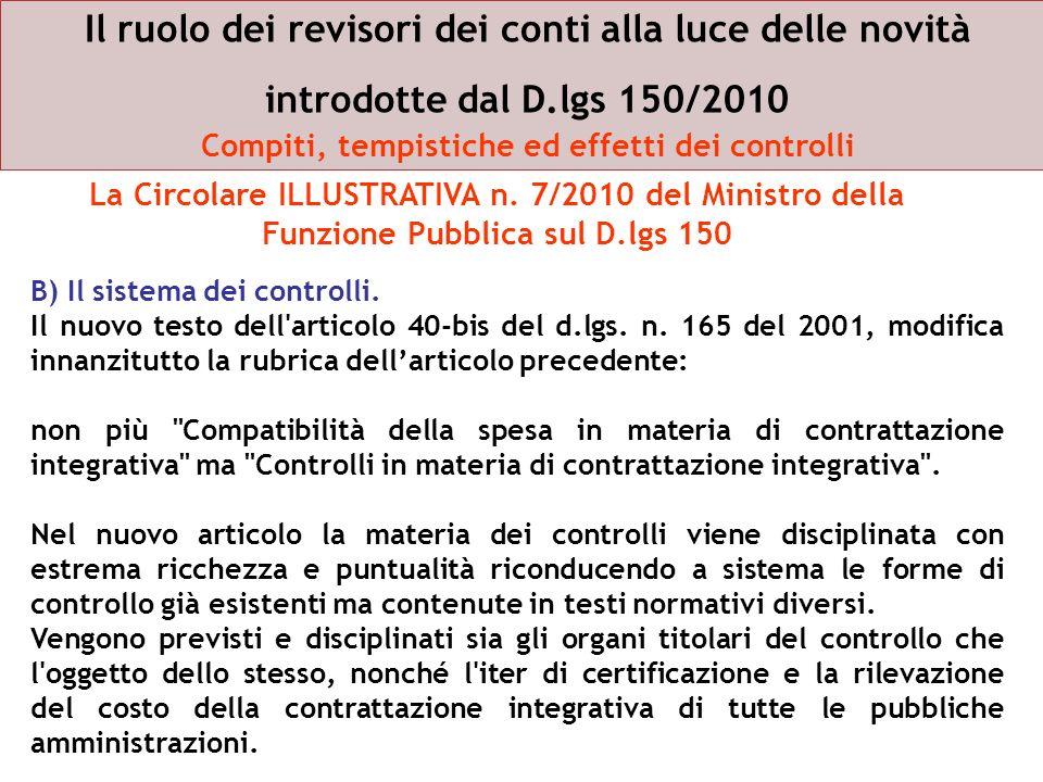 Il ruolo dei revisori dei conti alla luce delle novità introdotte dal D.lgs 150/2010 Compiti, tempistiche ed effetti dei controlli