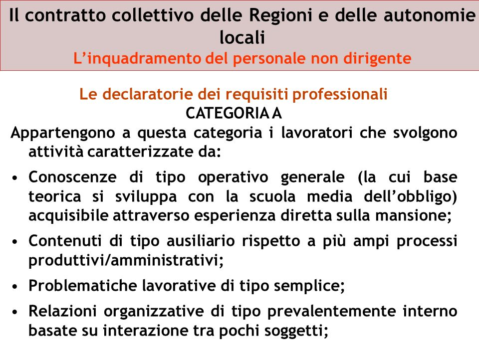 Le declaratorie dei requisiti professionali