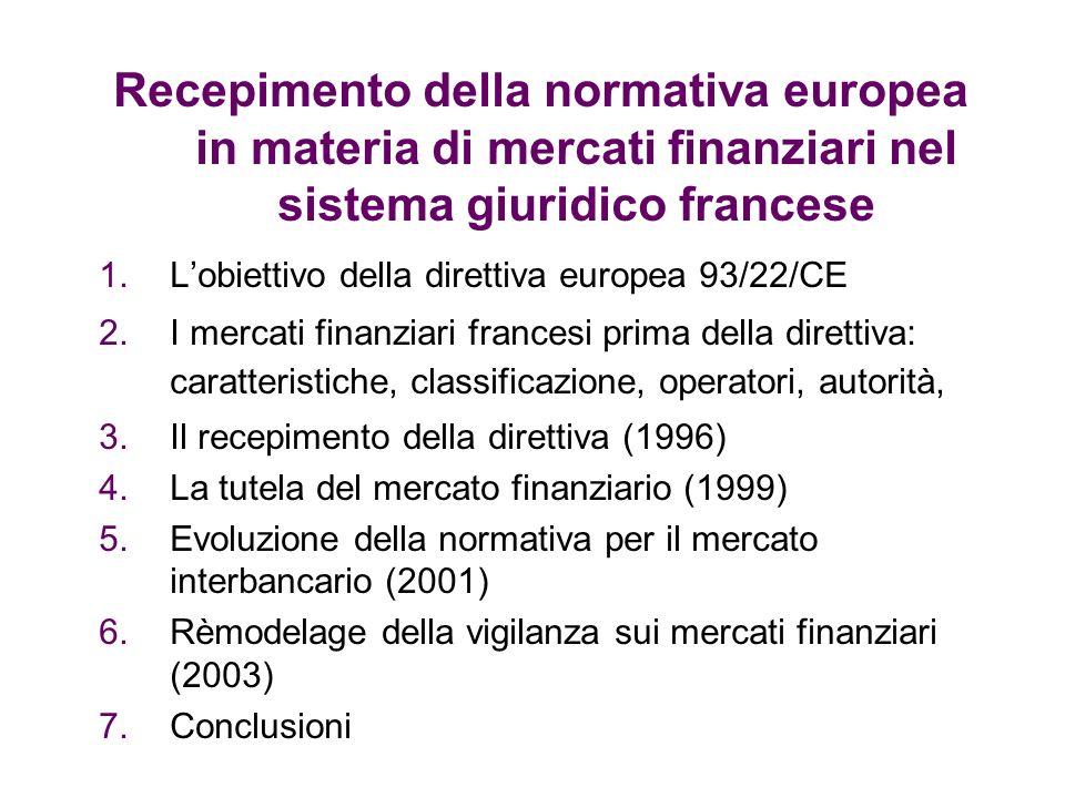 Recepimento della normativa europea in materia di mercati finanziari nel sistema giuridico francese