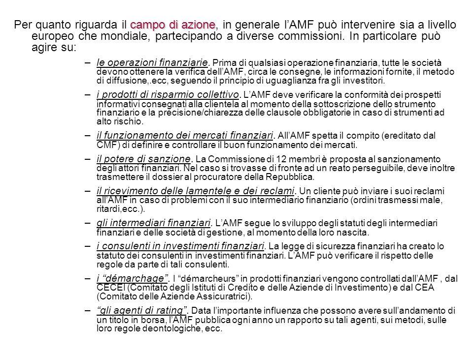 Per quanto riguarda il campo di azione, in generale l'AMF può intervenire sia a livello europeo che mondiale, partecipando a diverse commissioni. In particolare può agire su:
