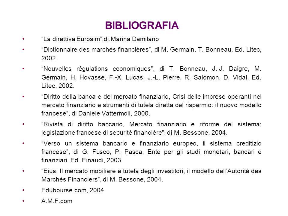 BIBLIOGRAFIA La direttiva Eurosim ,di.Marina Damilano