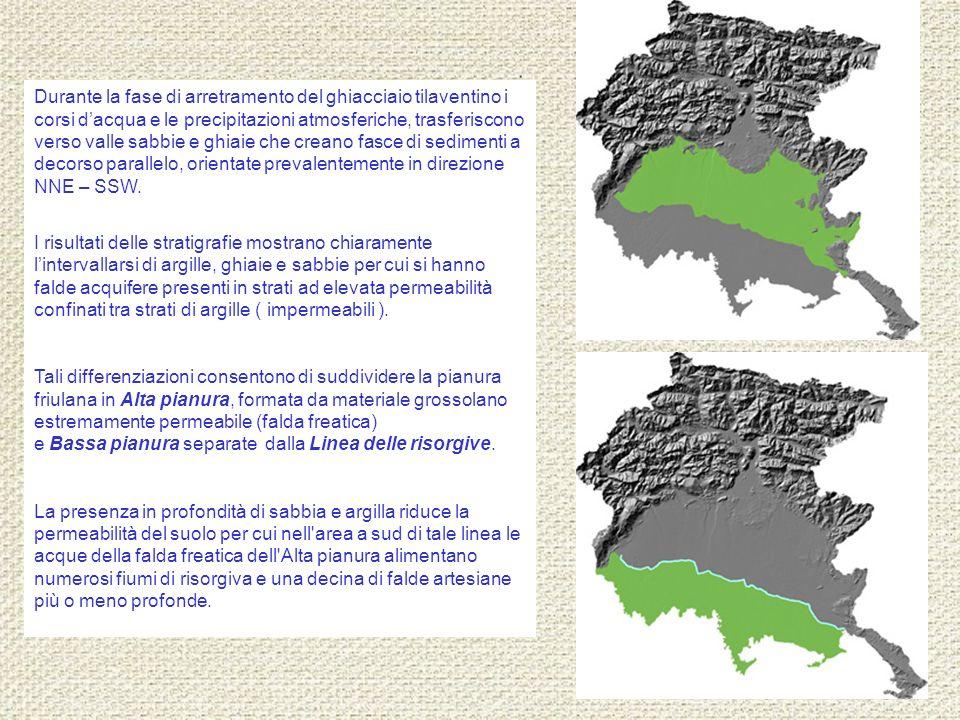 Durante la fase di arretramento del ghiacciaio tilaventino i corsi d'acqua e le precipitazioni atmosferiche, trasferiscono verso valle sabbie e ghiaie che creano fasce di sedimenti a decorso parallelo, orientate prevalentemente in direzione NNE – SSW.