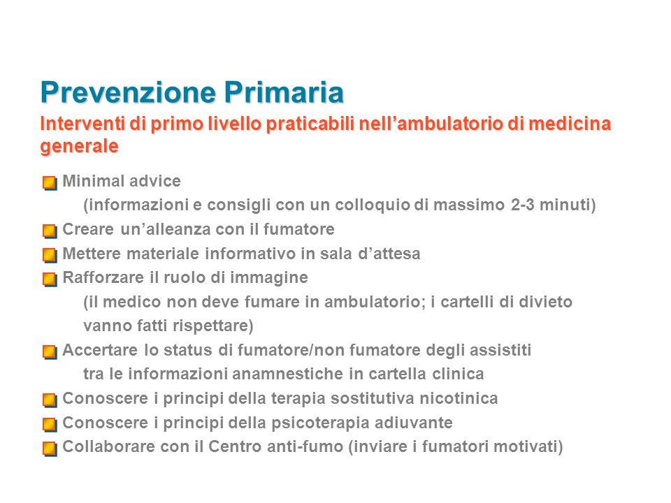 Prevenzione Primaria Interventi di primo livello praticabili nell'ambulatorio di medicina generale.