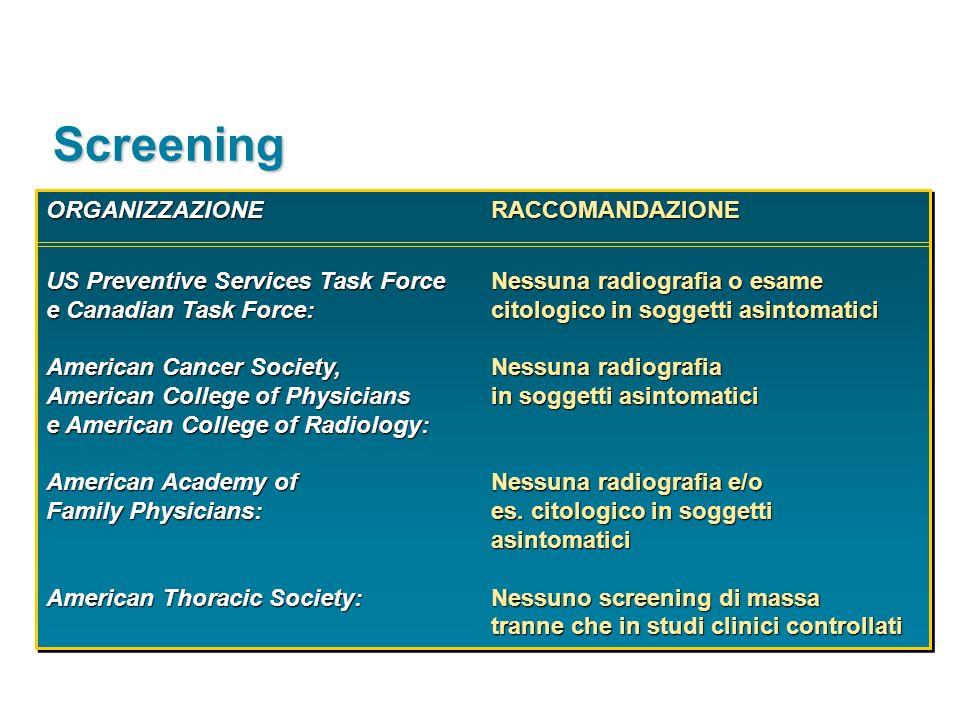 Screening ORGANIZZAZIONE RACCOMANDAZIONE