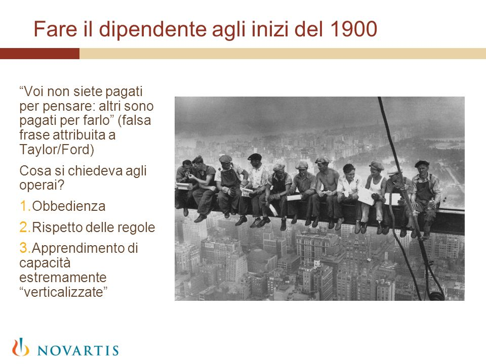 Fare il dipendente agli inizi del 1900