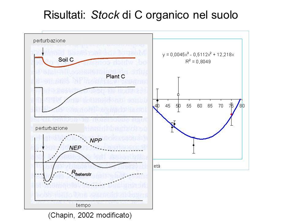 Risultati: Stock di C organico nel suolo