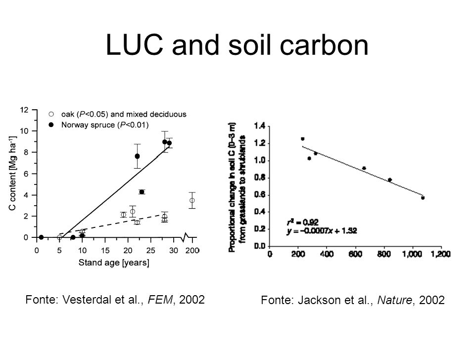 LUC and soil carbon Fonte: Vesterdal et al., FEM, 2002