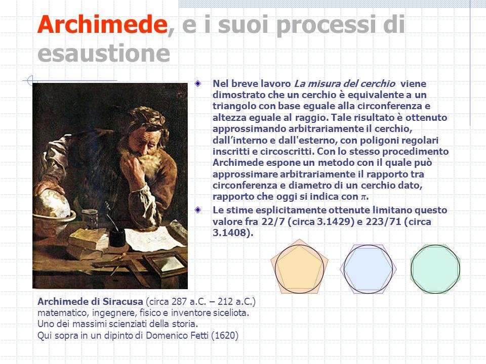 Archimede, e i suoi processi di esaustione