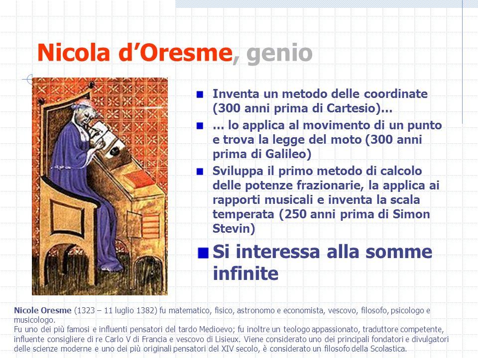 Nicola d'Oresme, genio Si interessa alla somme infinite
