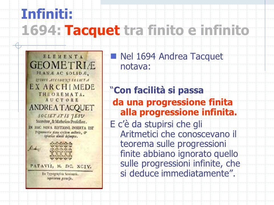 Infiniti: 1694: Tacquet tra finito e infinito