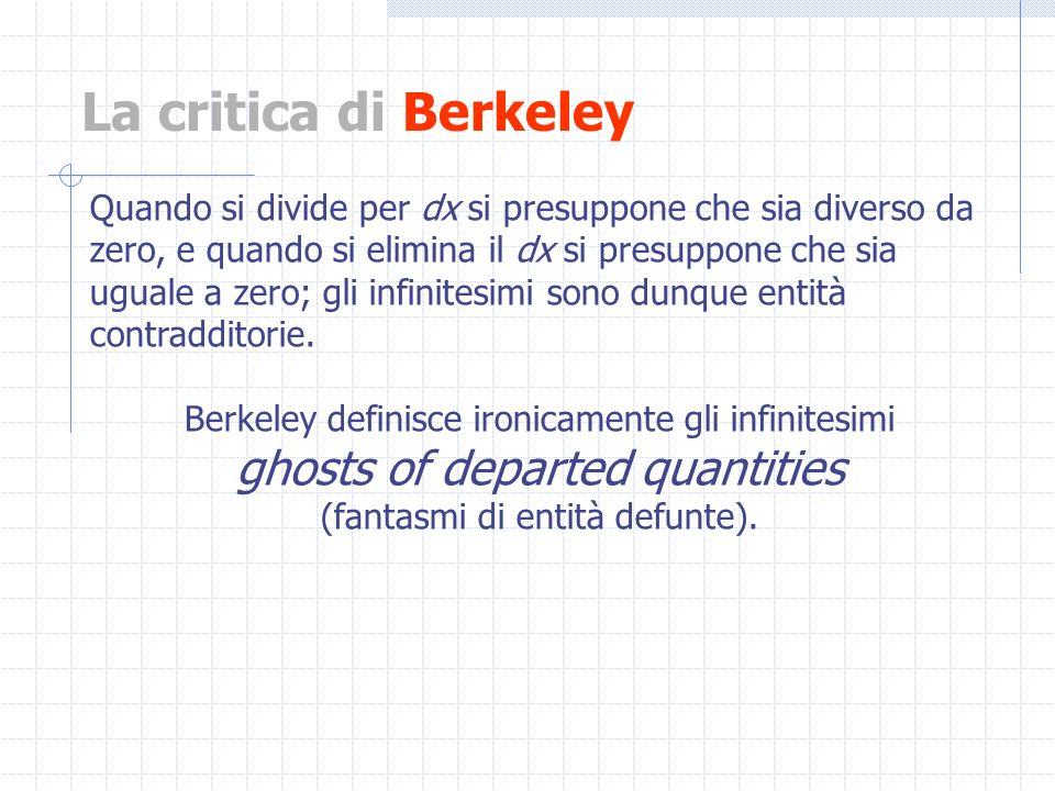 La critica di Berkeley ghosts of departed quantities