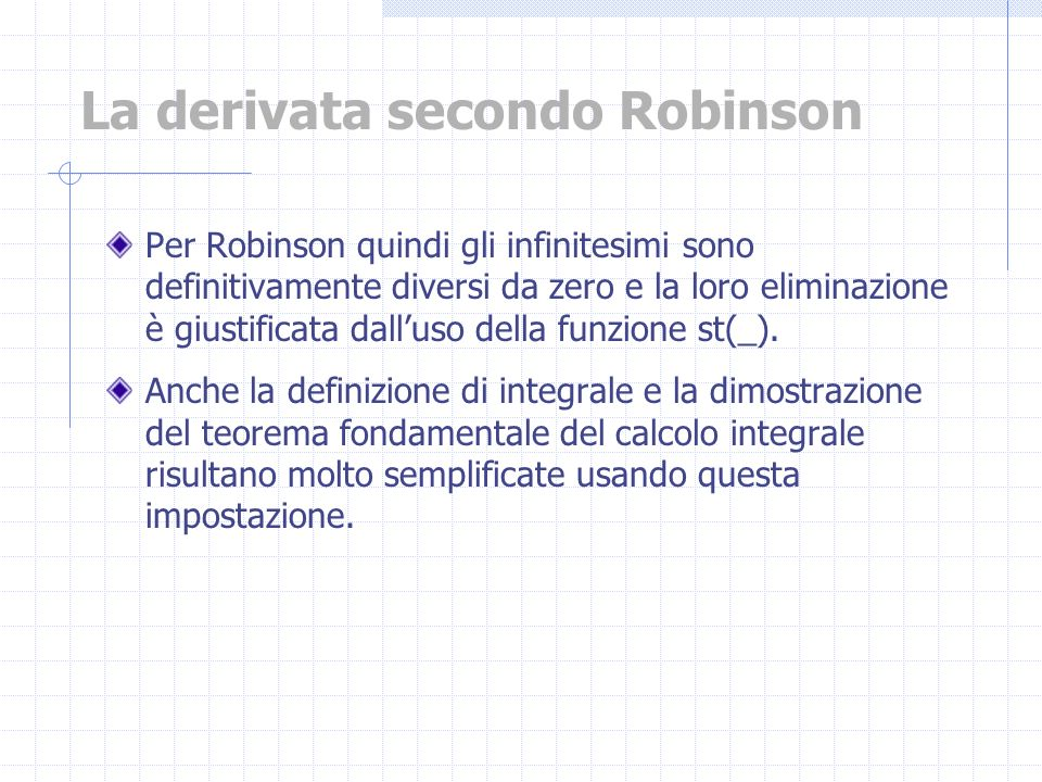 La derivata secondo Robinson