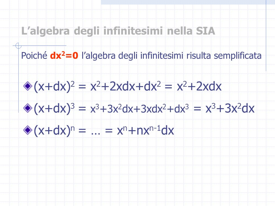 L'algebra degli infinitesimi nella SIA