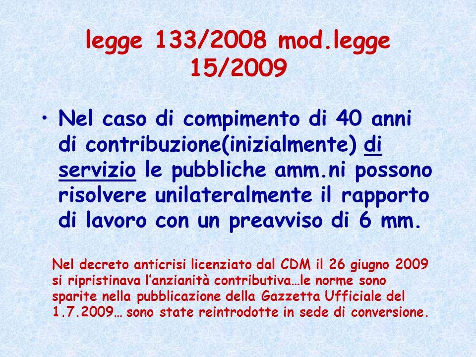 legge 133/2008 mod.legge 15/2009