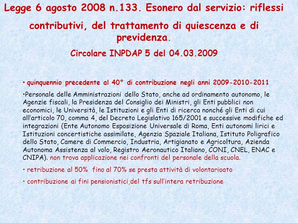 Legge 6 agosto 2008 n.133. Esonero dal servizio: riflessi
