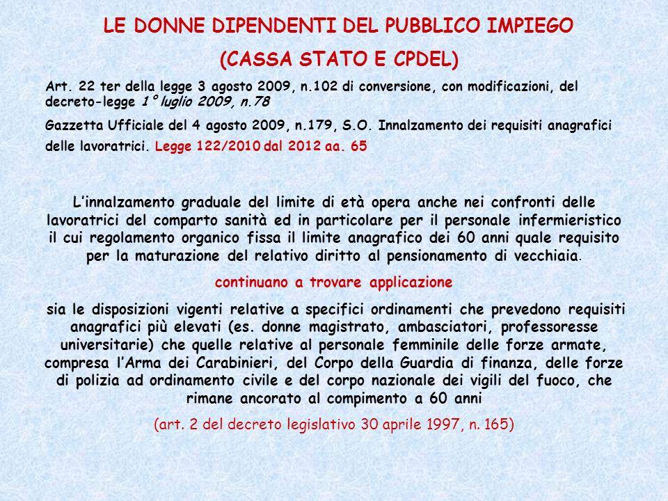 LE DONNE DIPENDENTI DEL PUBBLICO IMPIEGO (CASSA STATO E CPDEL)