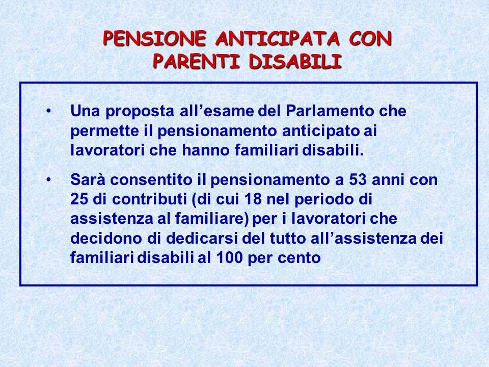 PENSIONE ANTICIPATA CON PARENTI DISABILI