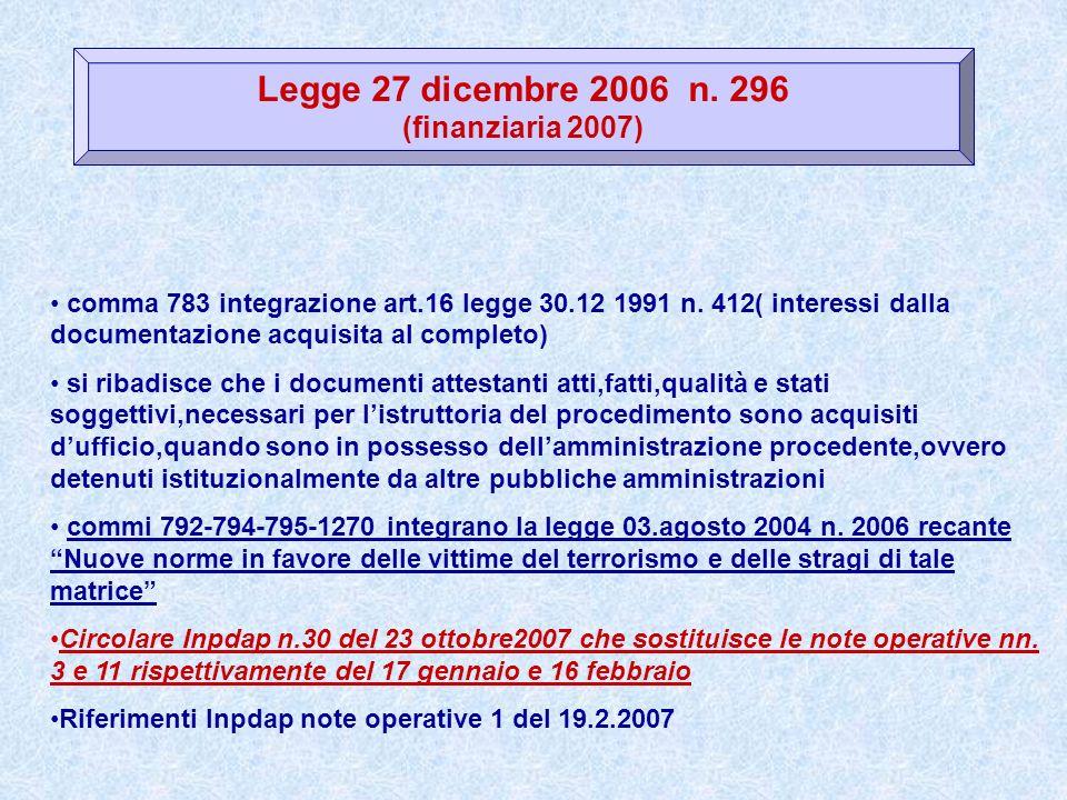 Legge 27 dicembre 2006 n. 296 (finanziaria 2007)