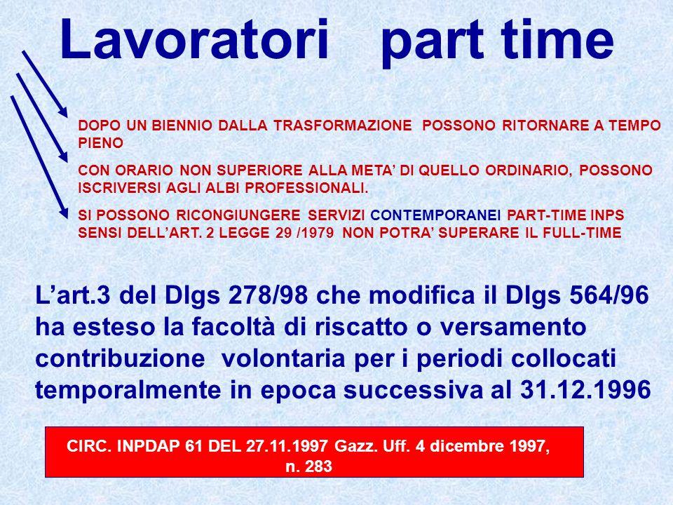 CIRC. INPDAP 61 DEL 27.11.1997 Gazz. Uff. 4 dicembre 1997, n. 283