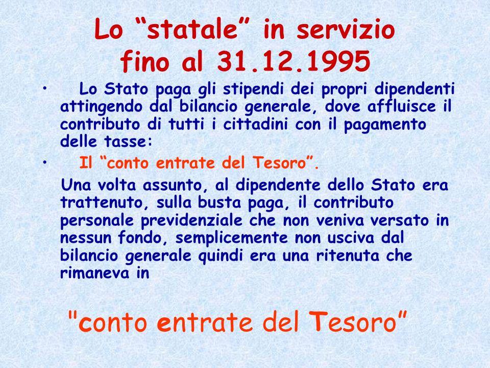 Lo statale in servizio fino al 31.12.1995