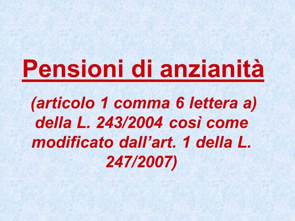 Pensioni di anzianità (articolo 1 comma 6 lettera a) della L.