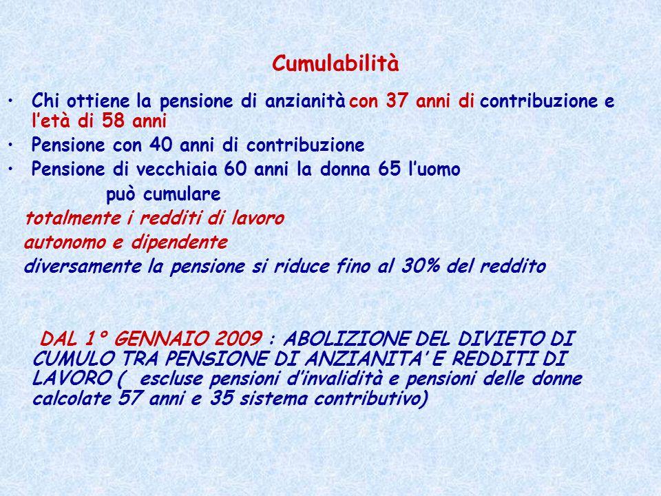 Cumulabilità Chi ottiene la pensione di anzianità con 37 anni di contribuzione e l'età di 58 anni. Pensione con 40 anni di contribuzione.