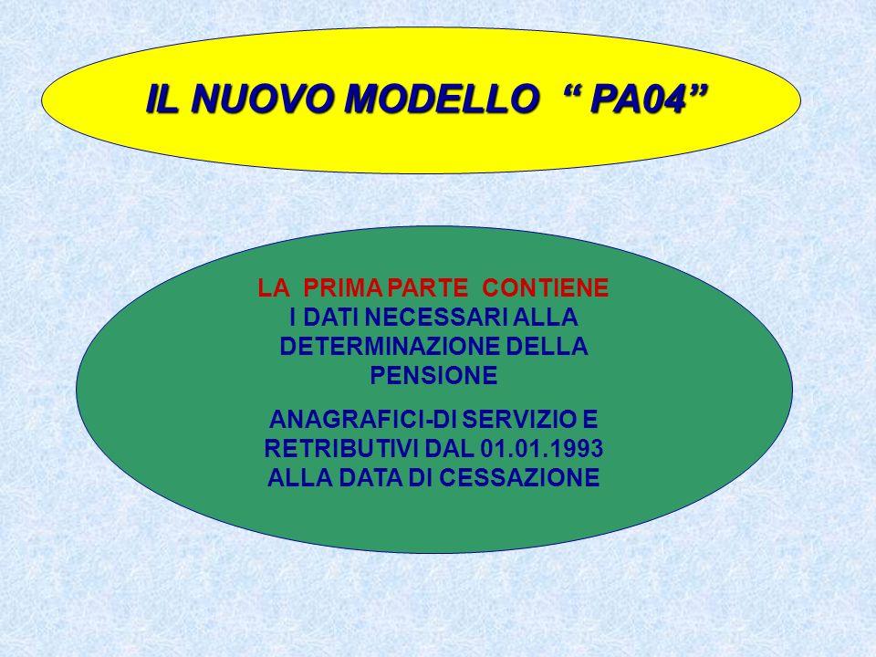 IL NUOVO MODELLO PA04 LA PRIMA PARTE CONTIENE I DATI NECESSARI ALLA DETERMINAZIONE DELLA PENSIONE.