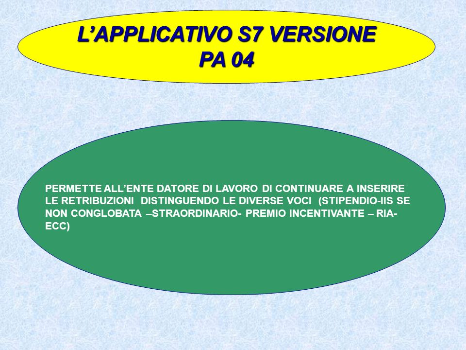 L'APPLICATIVO S7 VERSIONE PA 04