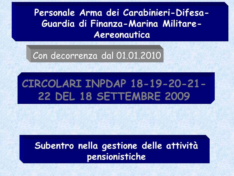 CIRCOLARI INPDAP 18-19-20-21-22 DEL 18 SETTEMBRE 2009
