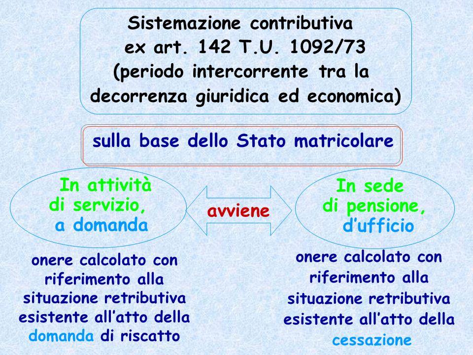 Sistemazione contributiva ex art. 142 T.U. 1092/73