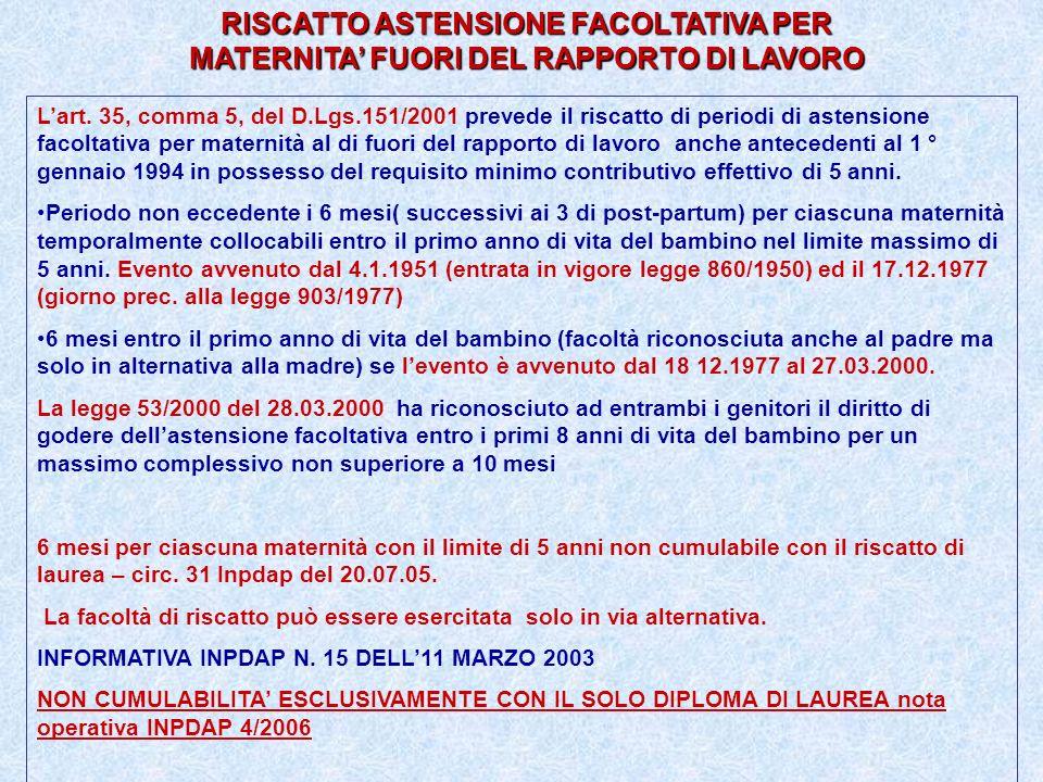 RISCATTO ASTENSIONE FACOLTATIVA PER MATERNITA' FUORI DEL RAPPORTO DI LAVORO