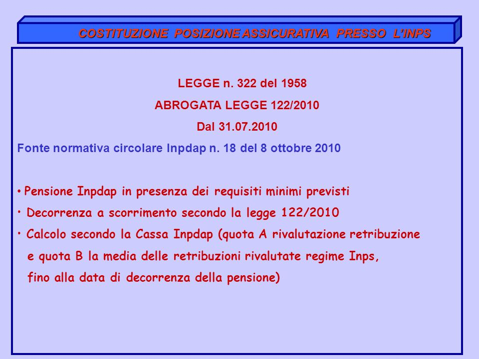 COSTITUZIONE POSIZIONE ASSICURATIVA PRESSO L'INPS