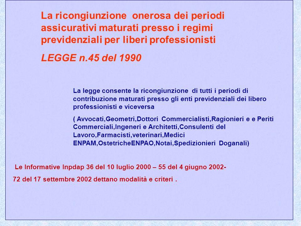 La ricongiunzione onerosa dei periodi assicurativi maturati presso i regimi previdenziali per liberi professionisti