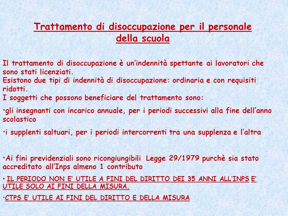 Trattamento di disoccupazione per il personale della scuola