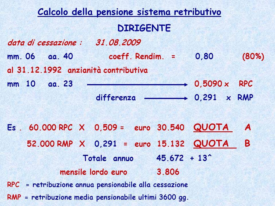 Calcolo della pensione sistema retributivo DIRIGENTE
