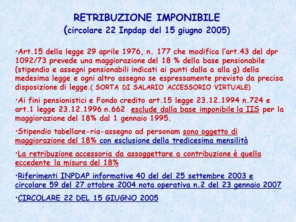 RETRIBUZIONE IMPONIBILE (circolare 22 Inpdap del 15 giugno 2005)