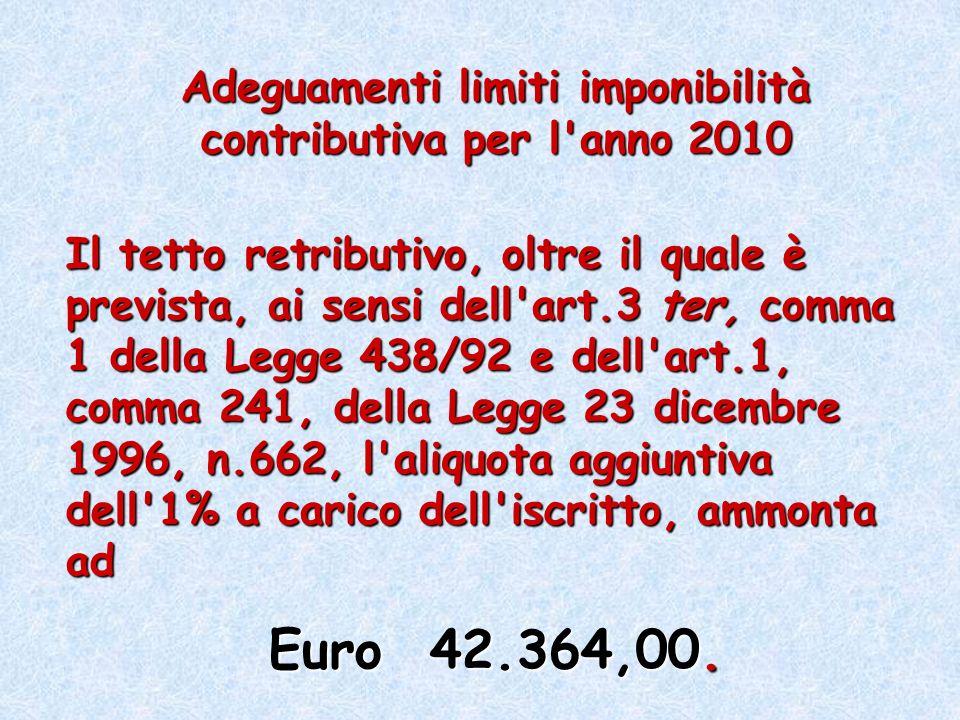 Adeguamenti limiti imponibilità contributiva per l anno 2010
