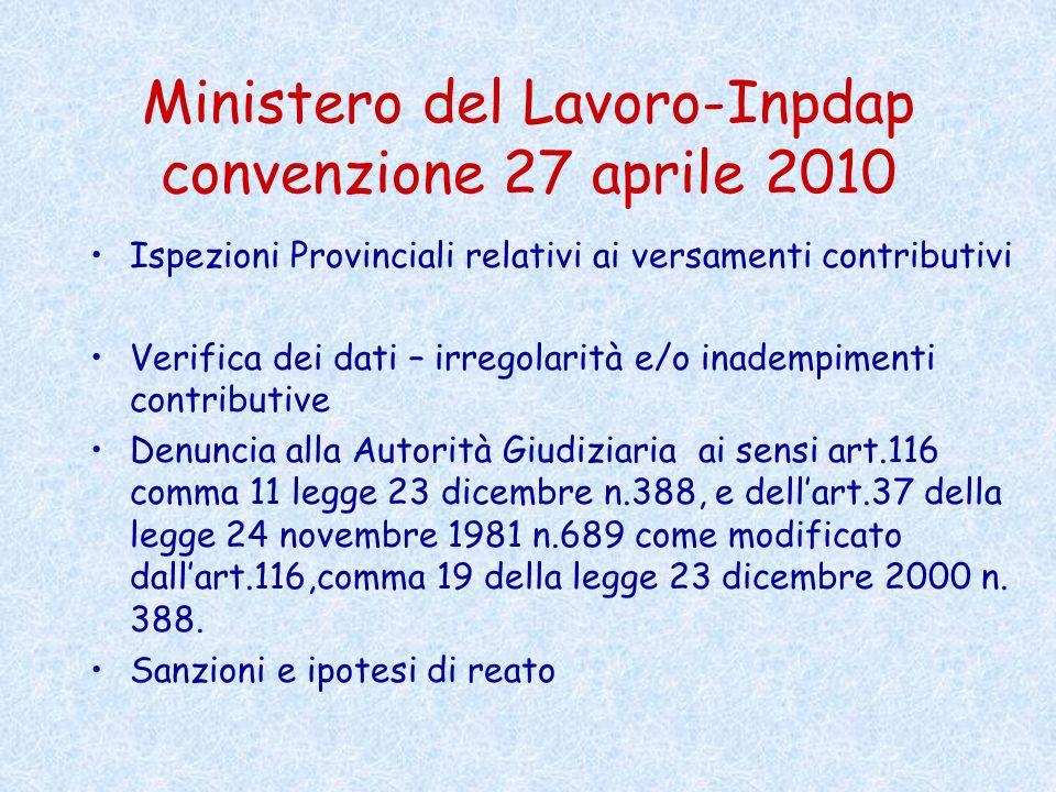 Ministero del Lavoro-Inpdap convenzione 27 aprile 2010