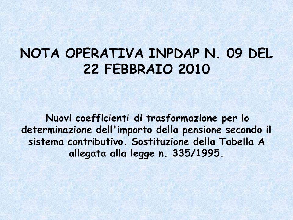NOTA OPERATIVA INPDAP N. 09 DEL 22 FEBBRAIO 2010