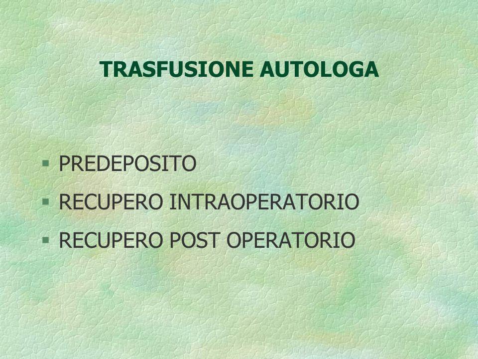 TRASFUSIONE AUTOLOGA PREDEPOSITO RECUPERO INTRAOPERATORIO RECUPERO POST OPERATORIO