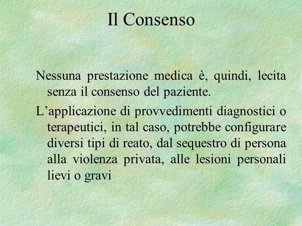Il Consenso Nessuna prestazione medica è, quindi, lecita senza il consenso del paziente.