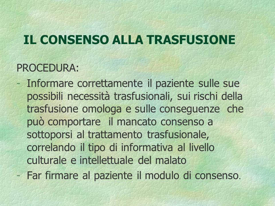 IL CONSENSO ALLA TRASFUSIONE